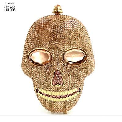 цена на XIYUAN BRAND women Skeleton handbag gold crystal Clutch bag ladies clutch evening bag Wedding purse bride pochette bag silver