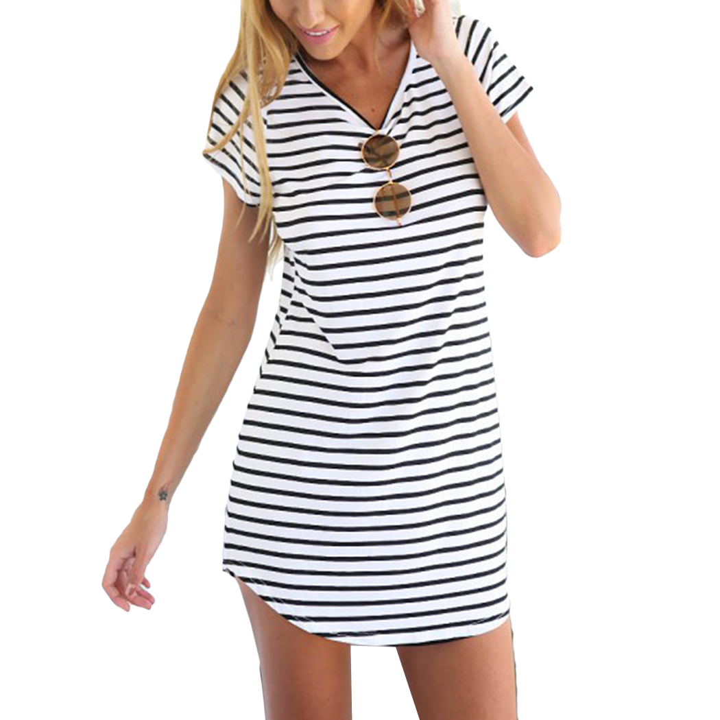 2018 Casual Striped Women Dress Sexy Cotton O Neck Straight Boho Shirt Dress Summer Short Sleeve Preppy Beach Desses Vestidos