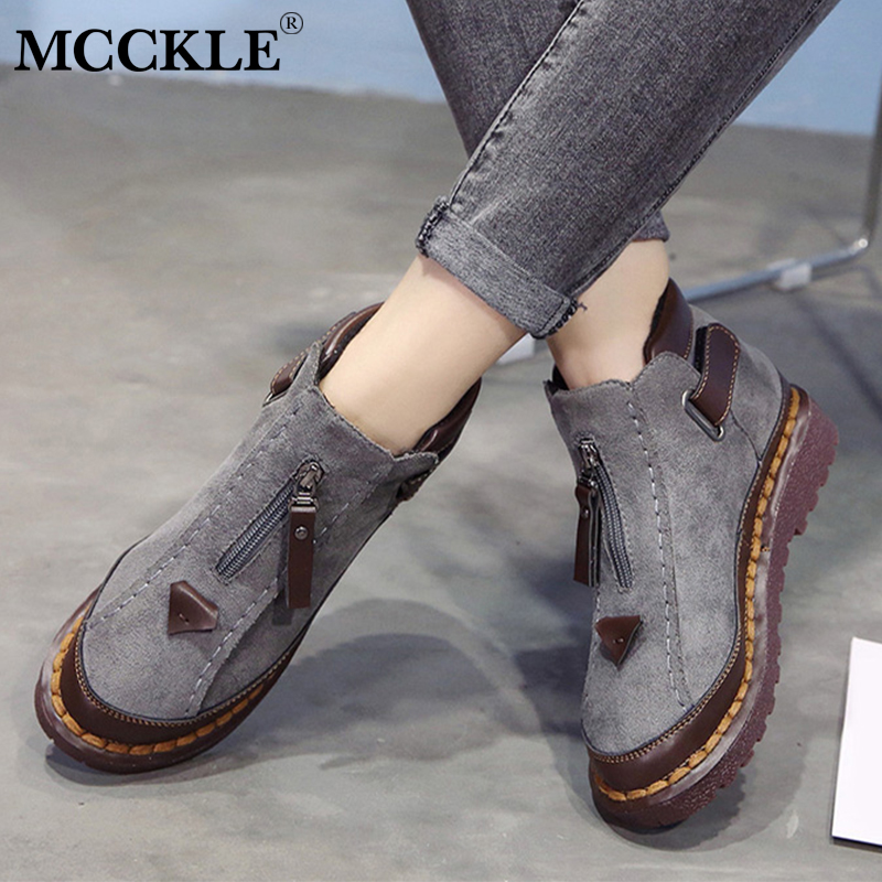 MCCKLE Women Ankle Boots Spring Plus Size Female Short Booties Platform Retro Nebuck Fashion Zipper Casual Woman's Shoes-in Ankle Boots from Shoes