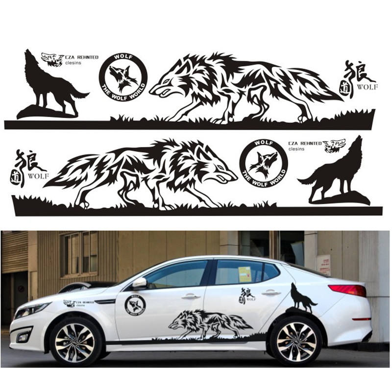 1set auto modifield decal vinyl car stickers the wolf world whole car body styling for universal. Black Bedroom Furniture Sets. Home Design Ideas