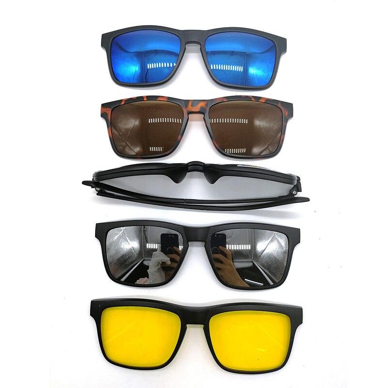 70611246bd5a7 Magnético 5 pcs Polarizada Clip-on Óculos de Sol Óculos de Armação de  Plástico para Dirigir À Noite
