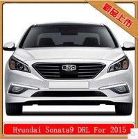 Бесплатная доставка Свет автомобиля DRL Габаритные огни для Hyundai Sonata 2015 2016 с туман отверстие лампы