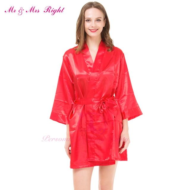 Moda 7 Cor Curto Robe de Cetim Macio Vestidos de Meninas de Festa de Casamento Da Dama de honra Da Noiva Vestido Sexy Roupões de Banho Mulheres Nightrgown