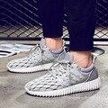 Горячие продажа мужчины повседневная обувь на шнуровке обуви сетка серый дышащий квартиры весна открытый ходьбы обувь sapato мужской размер 39-44 LA228M