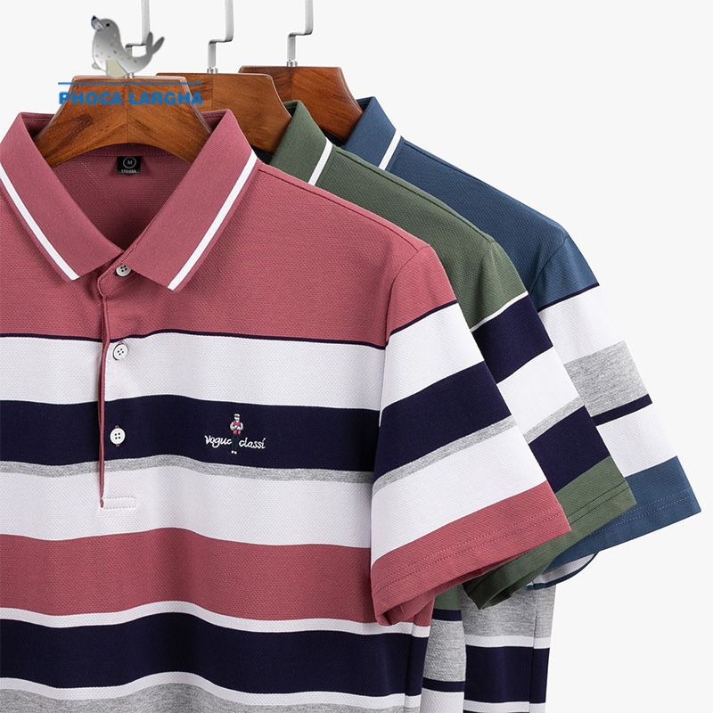New Summer Men's   Polo   Shirts 3D Embroidery High Quality Tops For Man Striped Short Sleeve Business Casual Brand   Polos   Male