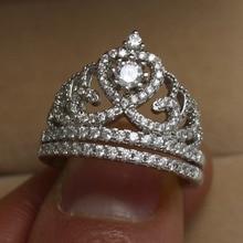 Victoria Wieck impresionante Crown ajuste topacio diamante simulado 925 Sterling silver Wedding Band Ring Set Sz 5-11 regalo del envío gratis