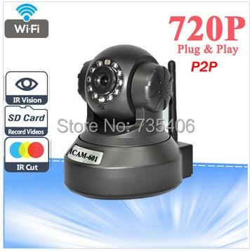 DHL Free Shipping P2P Wireless IP Camera HD 720P H.264 Pan/Tilt IR-Cut Night Vision Motion Detection IP Camera free shipping p2p 720p 1mp hd plug