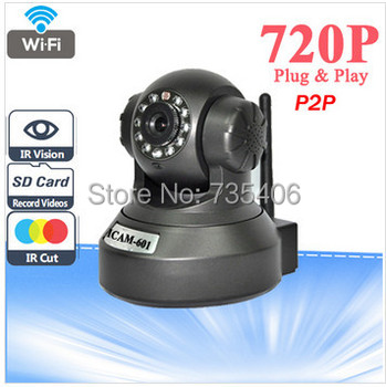 DHL Free Shipping P2P Wireless IP Camera HD 720P H.264 PanTilt IR-Cut Night Vision Motion Detection IP Camera