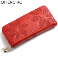 New 2014 European Genuine Leather Floral Women Wallets Red Large Zipper Long Wallet Women Flower Phone