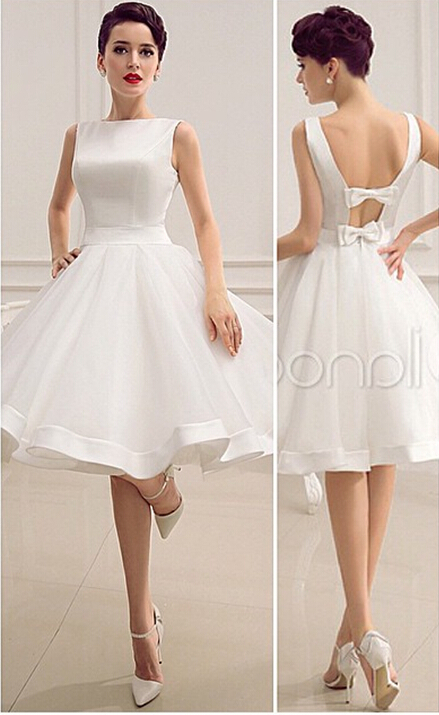 Under 100 Short Beach Wedding Dress Backless Ivory 2015 Organza