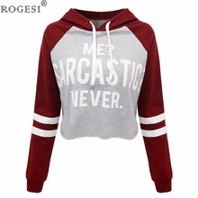 Rogesi 2017 New Casual Women T Shirts Hooded Long Sleeve Round Neck Short Shirt Women's Clothing American Apparel