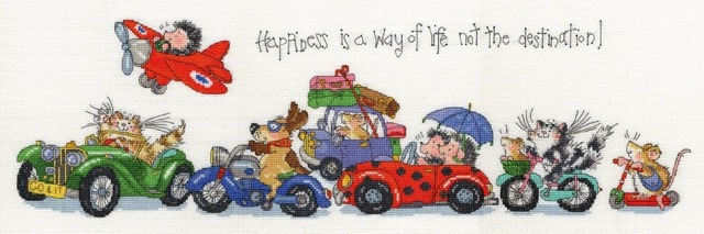 Top Quality lovely counted cross stitch kit bothy threads animal driving happiness is a way of life not the destination