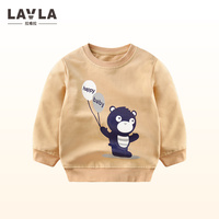 2017 LAVLA British Style School Sports Cotton O Neck T Shirt Long Sleeve Spring Autumn Children