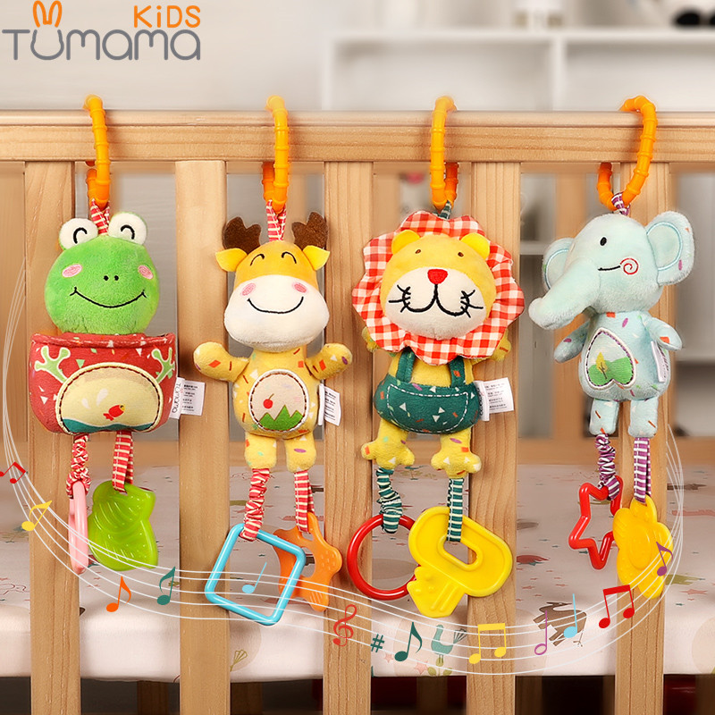 Tumama 4pcs Baby Plush Rattles Mobile Bed Bell Cartoon Animal Deer Frog Infant Toddlers Crib Stroller Hanging Toys 0-12 Monthes