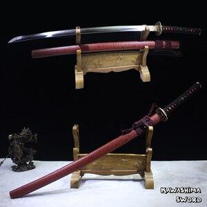 Настоящий японский меч Kawashima, ручная работа, катана T10, лезвие из глины, настоящая бритва Hamon, острый, полностью Tang-2018, новое поступление