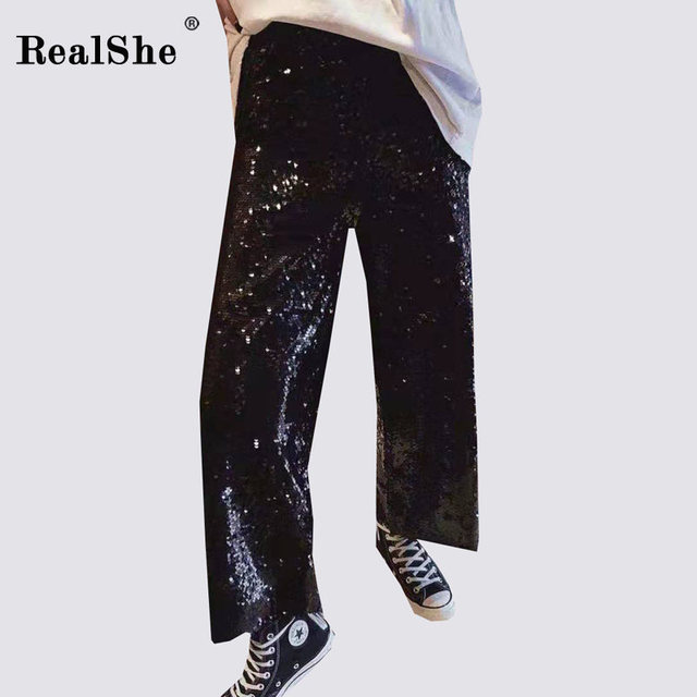 RealShe New Summer Sexy Wide Leg Pants Women High Elastic Waist Sequined Trousers Ladies Loose Pants Clubwear Pants Female