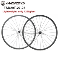 Only 1255g 29er 27mm wide full carbon MTB wheelsets 25mm deep DT350 disc hub and Sapim cx ray spokes, XC and gravel use