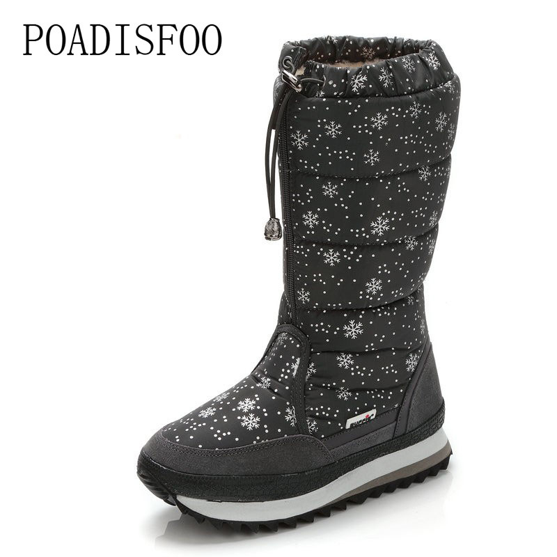 POADISFOO 2018 Winter boots High Women Snow Boots plush Warm shoes Plus size 35 to big 42 easy wear girl white zip JSH-M0767