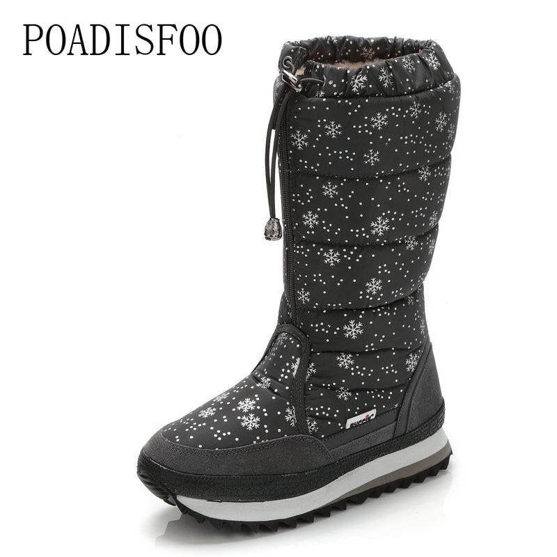 POADISFOO 2018 Winter boots High Women Snow Boots plush Warm shoes Plus size 35 to big 42 easy wear girl white zip JSH-M0767