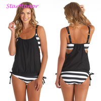Woman Striped Beach Swimsuit Bandage Monokini Patchwork One Piece Bikinis Set Push Up Strappy Bathing Suit