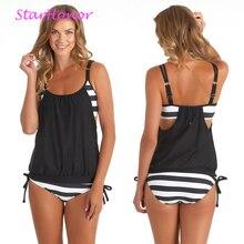 StarHonor Woman Striped Beach Swimsuit Bandage Patchwork One-piece Bikinis Set Push Up Strappy Bathing Suit Swimwear Plus Size