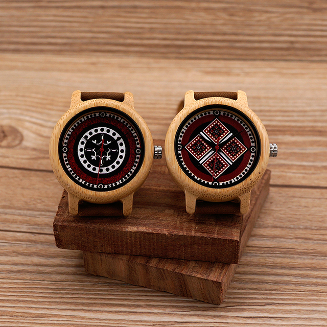 Unique Wooden Watch With Genuine Leather Band