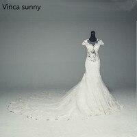 Vinca Sunny Mermaid Lace Wedding Dress 2018 Sexy See Through Vestidos De Novia Robe De Mariage