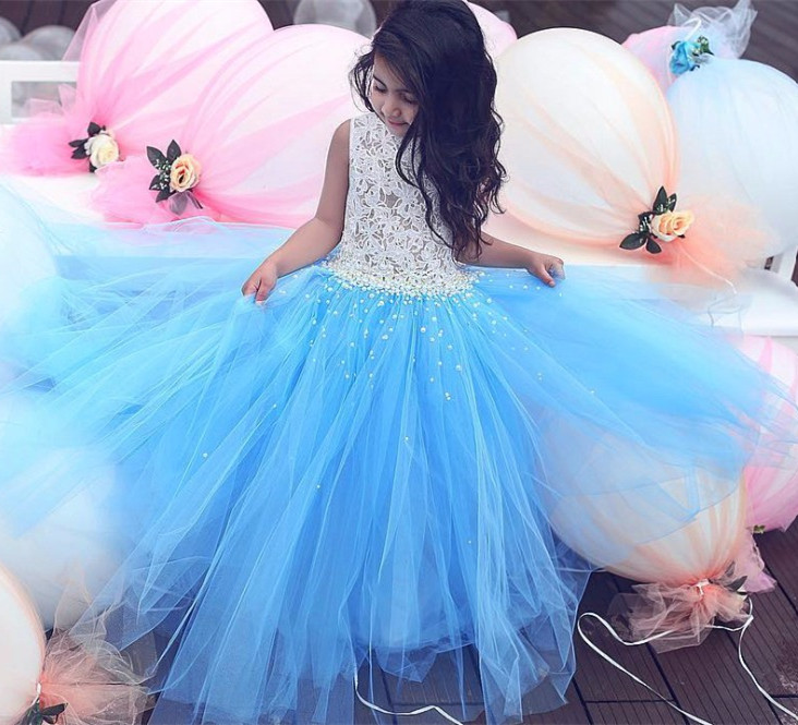 Pageant Children Dresses 2017 Sky Blue Puffy Tulle Ball Gown Flower Girls Dresses with Lace Pearls First Communication Dresses