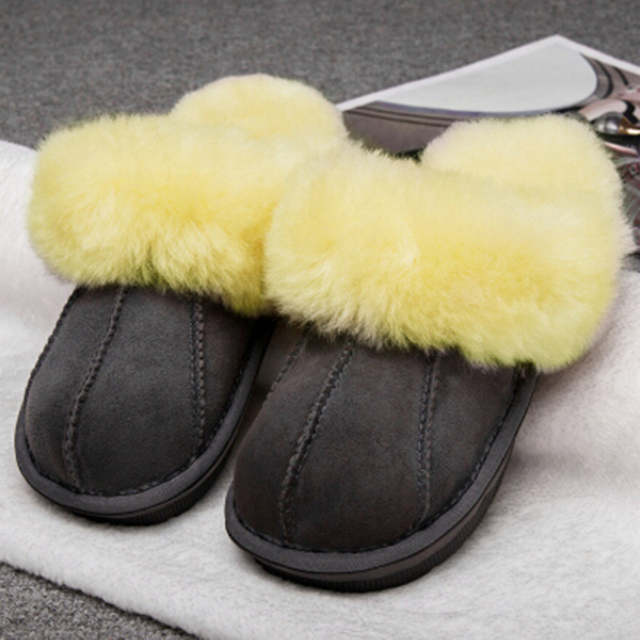 dc0ba3003ade6 US $22.74 41% OFF|Winter Warm Indoor Shoes Thick Wool Slippers Women Men  Couple Furry Sheepskin Slippers Australia Genuine Leather Slippers-in ...