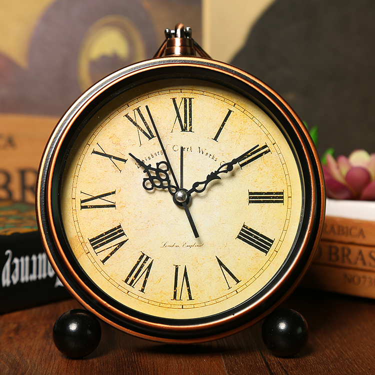 European Fashion Bedside Alarm Clock Mute Metal Alarm Bell Roman Word Horologe Home Essential Hour Bell|alarm clock|bedside alarm clock|alarm clock bell - title=