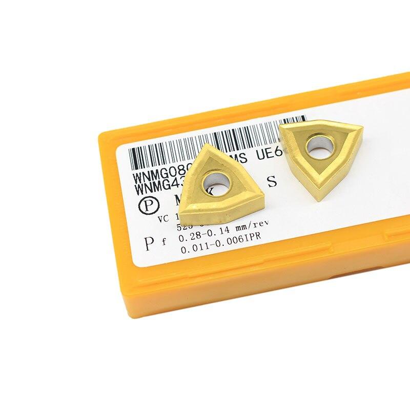 10PCS WNMG080404 MS UE6020 External Turning Tools Carbide insert Lathe cutter Tool Tokarnyy turning insert