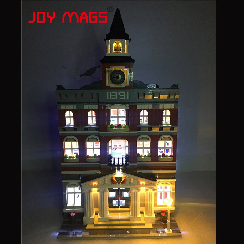 JOY MAGS Only Led Building Blocks Kit For Creators The Town Hall Model House Compatible With Lego 10224 15003 Excluding Model lepin15003 2859pcs city series the town hall model building kits blocks kid toy gift compatible with 10224