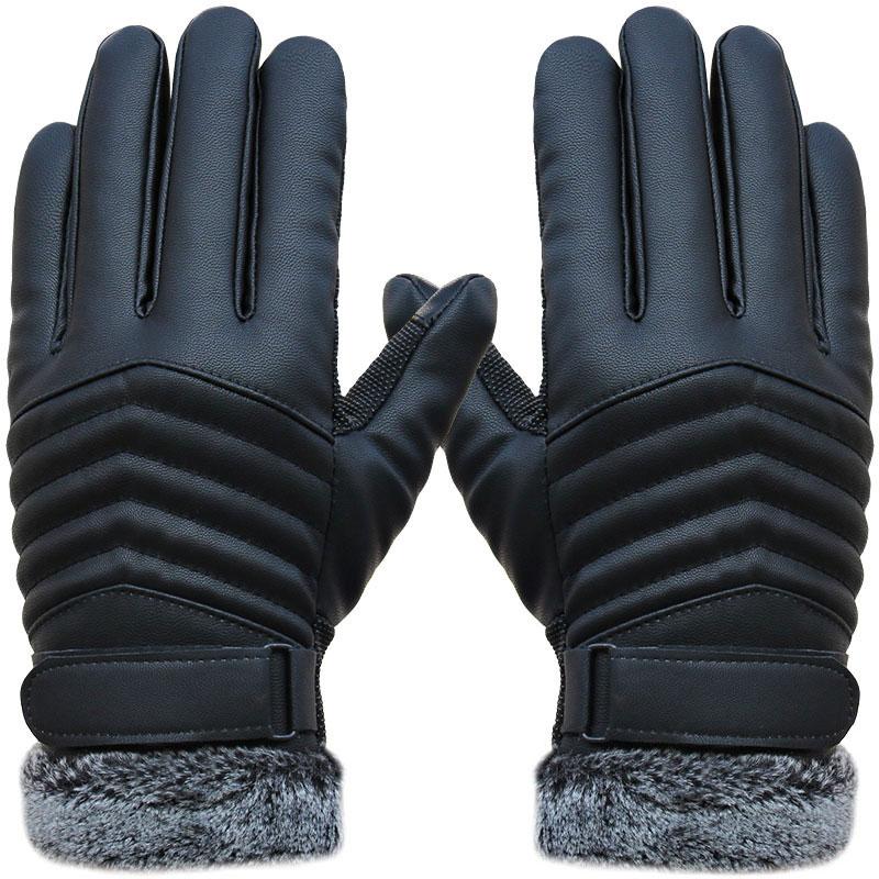 1pair Men's Synthenic PU Golves Winter Warm Five Finger Wrist Gloves Cut Wool Thicken Touch Screen Fur Mittens -MX8