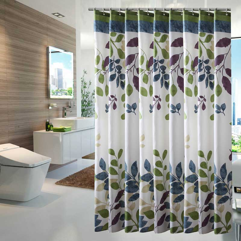 Leaves Shower Curtain Polyester Waterproof Mildewproof Bathroom Bath Curtain Home Decor Curtain with Hooks cortina de ducha