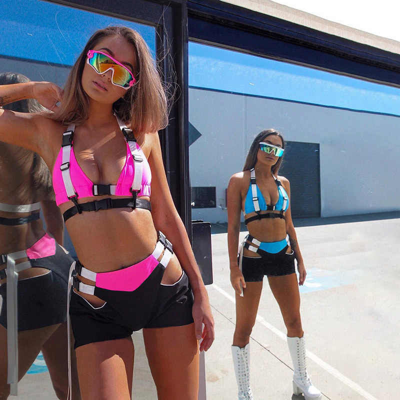 BOOFEENAA Sexy Two Piece Set Summer 2pcs Short Set Crop Top Biker Shorts Matching Sets Festival Clothing Female Outfits C87-AE28
