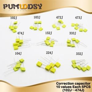 50 шт. = 10 видов * 5 шт. набор для коррекции конденсатора посылка 100 в 102J 103J 104J 152J 224J 332J 333J 472J 473J 474J набор