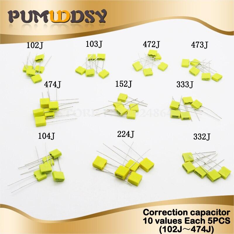 50PCS=10 Kinds * 5PCS Correction Capacitor Package Kit 100V 102J 103J 104J 152J 224J 332J 333J 472J 473J 474J KIT