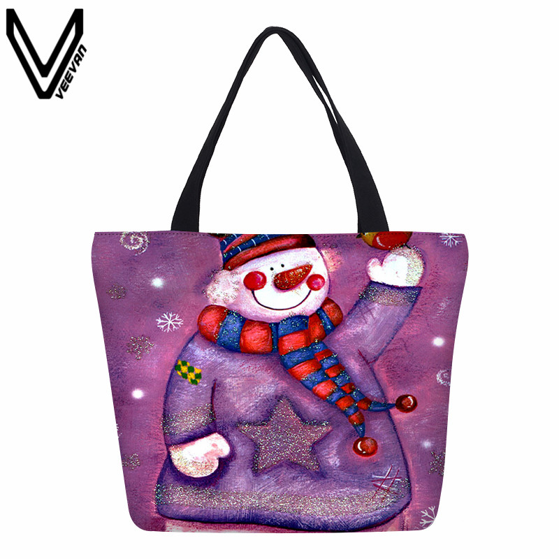 Cat Shopping Bags Animal Canvas Bags Santa Claus Cartoon Handbags Dog Elk Printing Makeup Tote Bags