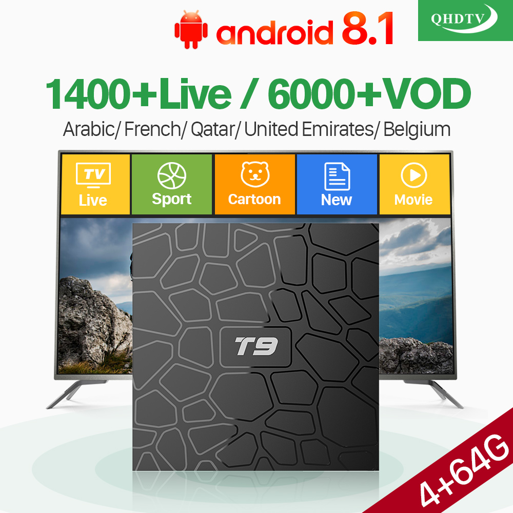 T9 Android 8.1 Tv Box RK3328 4GB 64GB With QHDTV Iptv Subscription French Arabic Belgium Morocco Netherlands Iptv Smart Box     T9 Android 8.1 Tv Box RK3328 4GB 64GB With QHDTV Iptv Subscription French Arabic Belgium Morocco Netherlands Iptv Smart Box