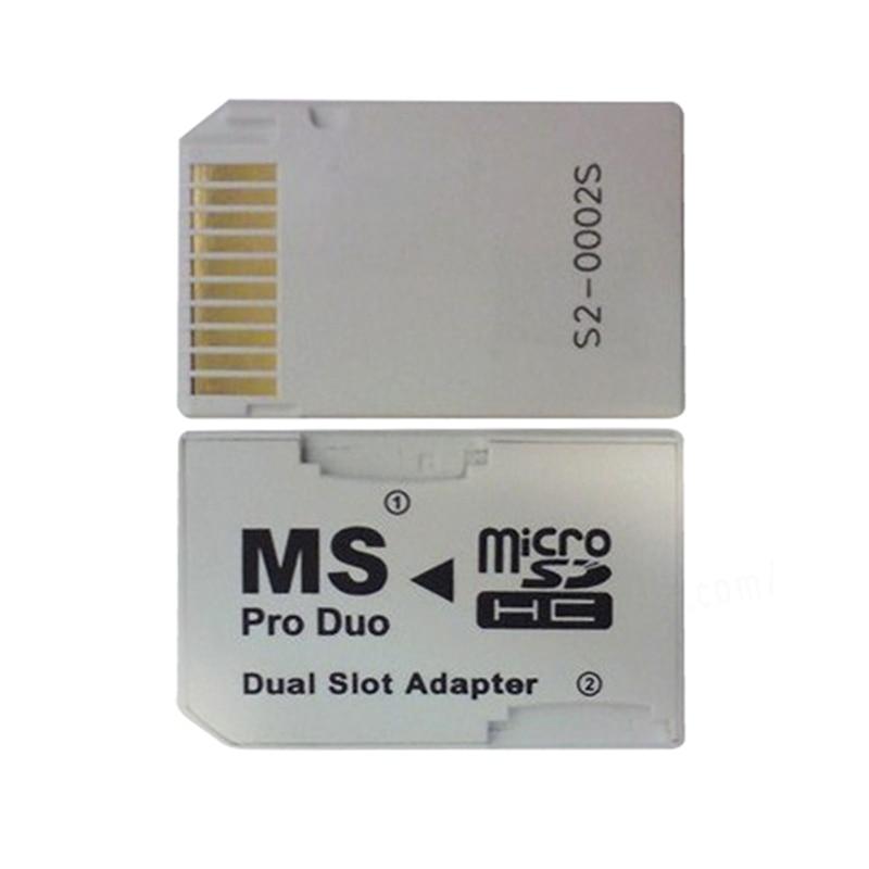 PSP כרטיס כפול 2 חריץ מיקרו זיכרון TF כדי Memory Stick Duo Pro MS מתאם עבור PSP 64MB עד 8GB TF כרטיס + זיכרון לבן ממיר Stick (2)