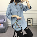 Camisas Blusas 2017 Mujeres de La Manera de corea Del Bordado Flor de Bolsillo Único de Manga Larga Marca Tops de Denim Light Blue Jean Camisa