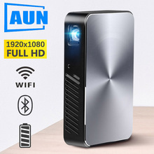 Brand AUN Full HD Projector J10, Build in Android, 6000mAH Battery, 1920x1080P, WIFI, Bluetooth, HDMI. Portable MINI Projector