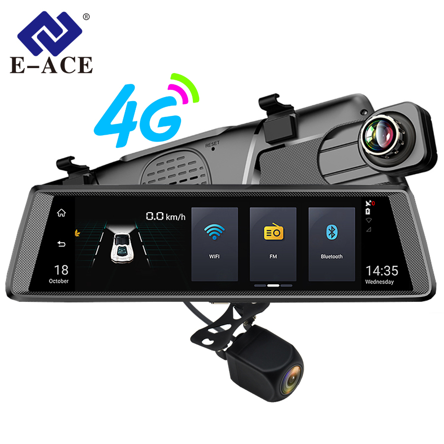 E-ACE 4G Car Dvr Mirror With Rearview Camera 10 Inch Android FHD 1080P+720P ADAS LDWS Video Recorder Night Vision GPS Navigation