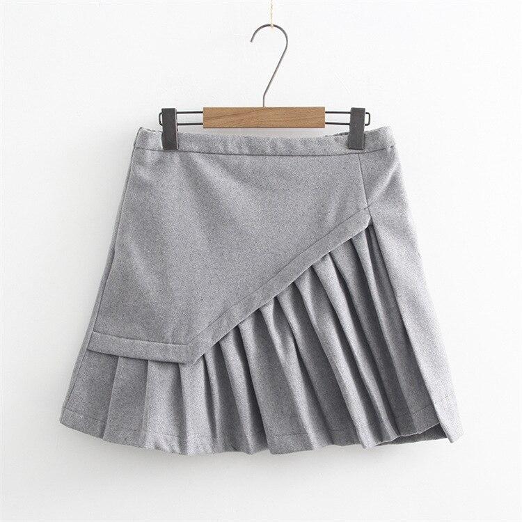 2017 Ladies Fashion High Waist Skirts Tutu womens Spring Autumn Winter Free Shipping Mini Skirt Gray