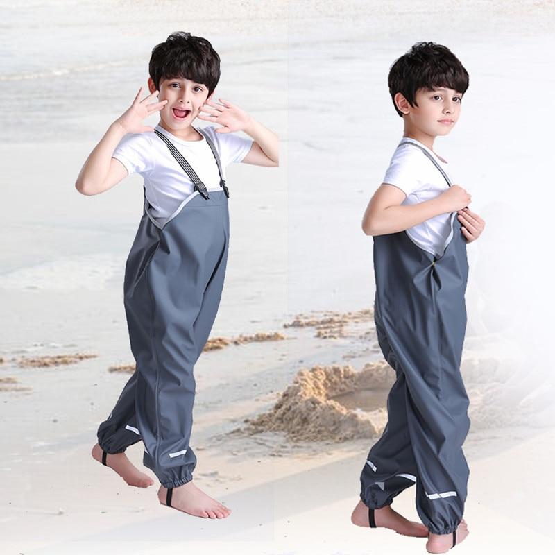 Child Bib Pants Rain PantsFor Children Skiing Trousers Boy/Girl Breathable Waterproof Windproof Rain Coat