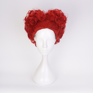 Image 2 - Alice in Wonderland Red Queen Cosplay Wig Queen of Hearts Red Heat Resistant Synthetic Hair Wigs + Wig Cap