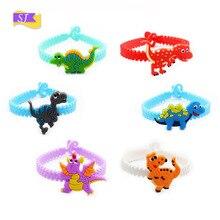 6pcs Hot green pvc bracelet creative silicone wristband dinosaur children soft rubber small gifts