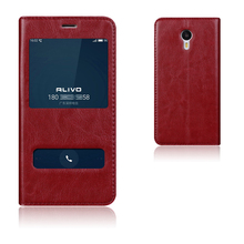 Natural Top Genuine Leather Window Flip Stand Cover Case For Meizu Meilan Note 3 / Meizu M3 Note Luxury Mobile Phone Bag