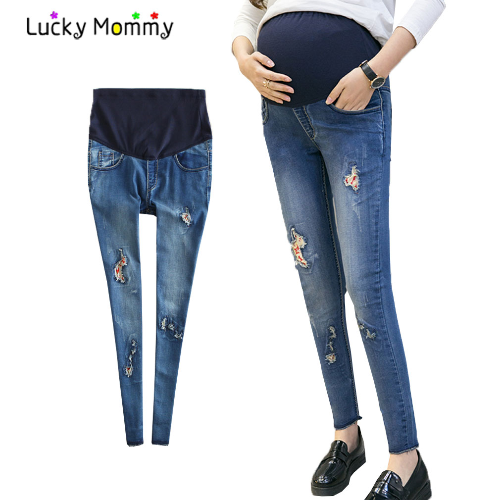 2017 Summer Scratch Hole Denim Maternity Jeans Pregnancy Pencil Pants Clothes for Pregnant Women Pregnancy Belly Trousers new jeans maternity pants for pregnant women dungarees clothes trousers prop belly legging pregnancy clothing bib overalls pants