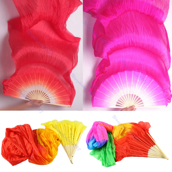 1Pc Hand Made Colorful Belly Dance Dancing Silk Bamboo Long Fans Veils 4 Colors